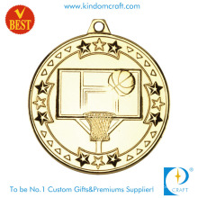 China Custom Cheap 3D Gold Plating Basketball Medal in Zinc Alloy Stamping