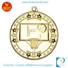 Medalha barata do basquetebol do chapeamento de ouro 3D feito sob encomenda em carimbo liga de zinco