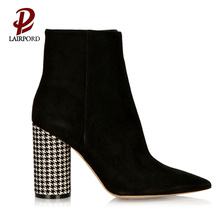 heeled black short heel boots for women