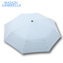 Wedding Favors OEM Giveaways 21 Inch Ladies Personalized Blue Strips UV Protect Outdoor 3 Folding Safety The Umbrella Windproof