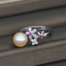 8-9MM Freshwater Pearl Ring with Three Flowers