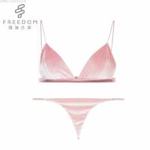 FDBL7103125 voller Größe sexy Foto Damen Unterwäsche sexy neue Design Phantasie Samt BH BHs Dreieck Bralette BH und Panty Set
