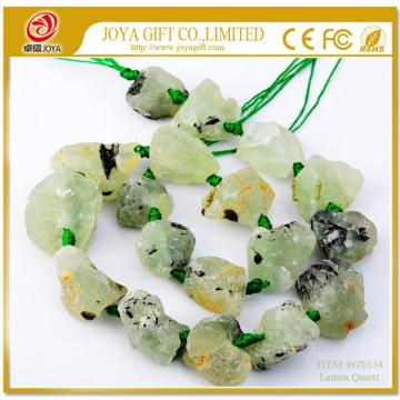 Natural Raw Rough Lemon Crystal Quartz Beads