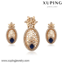 64270 african gold plated jewelry sets wholesale delicate elegant pendant and earring gold plated jewelry sets