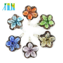 High Quality Mother Gift Unique Necklace Bauhania Flower Flat Art Lampwork Glass Pendants 12pcs/box, MC0083