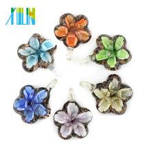High Quality Mother Gift Unique Necklace Bauhania Flower Flat Art Lampwork Glass Pendants 12pcs/box, MC0083