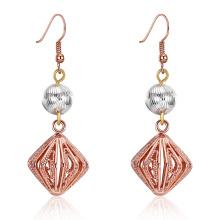 2017 Nouvelle conception broderie pendentif boucles d'oreille or rose plaqué or