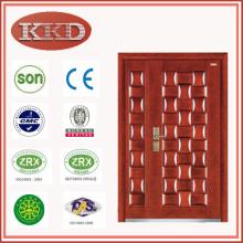 Decorativa madeira aço blindado porta JKD-G322B para segurança residencial