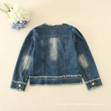Kinder Jeans Winter appliqued Blumen Jacken Mädchen hohe Qualität Jeans Outfit Herbstmode Jeans Jacken Großhandel