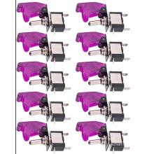 Purple Cover LED Light Rocker Toggle Switch on/off Car Motor