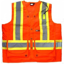 Bright Orange High Visibility ärmellose Surveyor Weste