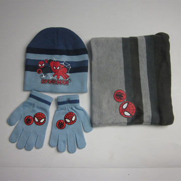 Spider-Man Hat Neck Scarf Gloves Set