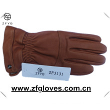 Winter warm deerskin touch leather gloves with cashmere lining
