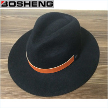 Women Wide Flat Brim Black Floppy Wool Hat