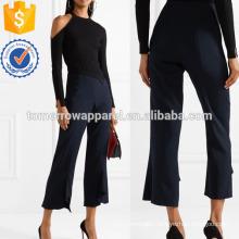 Cobalt-blue Hammered Silk-satin Wide-leg Pants Manufacture Wholesale Fashion Women Apparel (TA3032P)