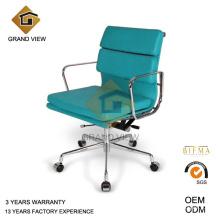 Couro azul cadeira reunião visitante (GV-EA217)