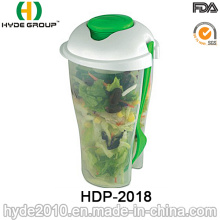Plastic Salad Shaker Cup with Fork and Dressing Cup (HDP-2018)