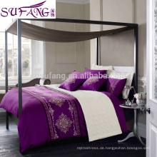 Alibaba China Suppiler Luxus 60er Jahre lange Staple Baumwolle Königin King Size Bettbezug Blatt Set, ethnische Bettbezüge