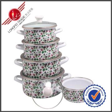 New Design Elegant Cast Iron Enamel Cookware Set with Lid