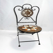 Складной круглый стул Металлический мозаичный стул для бистро