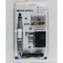 DC inalámbrico portátil grabado Carver Hobby Rotary herramientas eléctricas Kits taladro 10pcs Electric 18v Mini Grinder