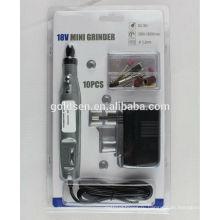DC Аккумуляторная портативная гравировка Carver Hobby Ротационные наборы электроинструментов Drill 10pcs Electric 18v Mini Grinder