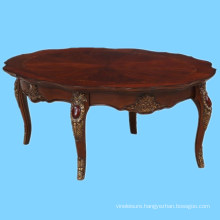 Classic furniture wood round coffee cocktail table with storage