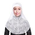 2017 Élégance en gros marché de mariage solide couleur dentelle instan hijabs cap et écharpe twinset