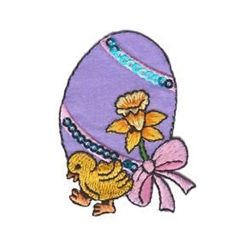 Easter Chick Sequin Egg Embroidered Patch