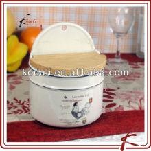 Recipientes de almacenamiento de alimentos de cerámica con diseño de pollo