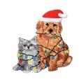 Tête de renne de Noël avec Patch de couronne de houx