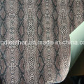 Schlangen-Oberfläche Doppelseitige PU Schuhe Leder (QDL-SP044)