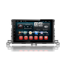 Fábrica Kaier + Quad core Full touch android 4.4.2 carro dvd para Toyota Highlander 2015 + OEM + 1024 * 600 + link mirrior + TPMS