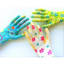 Guantes de nitrle de calibre 13 guantes de trabajo de jardinería de poliéster recubiertos de nitrilo para exteriores