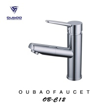 Deck Mounted Chrome Finished Pullout Vessel Sink Faucet