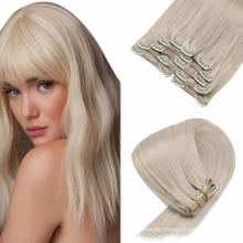 100% Human Virgin Brazilian Hair Extensions Silky 20inches Clip-in Hair Extensions Remy Hair