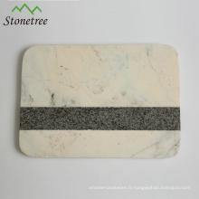 Planche à découper en marbre naturel avec planche à pâtisserie