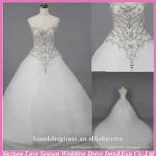 WD6031 Qualidade tecido boa qualidade de exportação artesanal com decote amado em dubai longo vestido vestido de noiva de vestido de bola