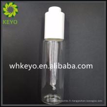 Baume de barbe de luxe de 50 ml récipient cosmétique coloré transparent Bouteille de verre à paroi mince avec compte-gouttes de presse