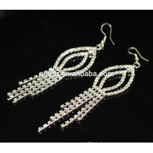 2015 neue Qualitäts-Förderung-Braut elegante silberne hängende Kristallbolzen-Ohrringe