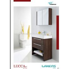 Дешевые цены Тщеты ванной комнаты темный орех меламин покрытием МДФ двери и каркаса с зеркальной стены шкафа