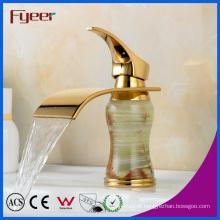 Fyeer New Bathroom Waterfall Tap Golden Ceramic Basin Faucet