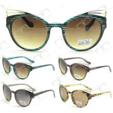 Gafas de sol de plástico de plástico de la decoración del metal de la manera (LS176)