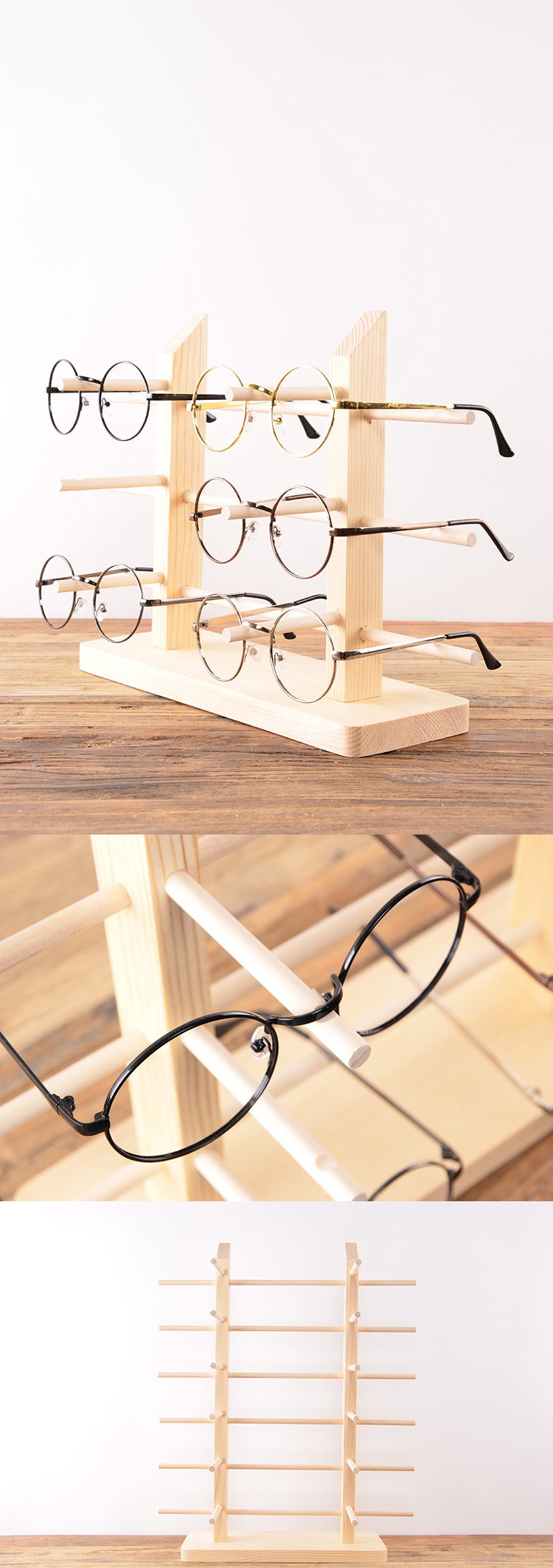 Wooden Eyewear Display Rack For Eyeglasses Store
