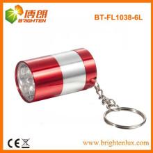 Fábrica de suministro pequeño tamaño de bolsillo de aluminio 6 llevó mini linterna LED Keychain