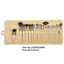 22pcs ivory plastic handle animal/nylon hair makeup brush tool set with ivory satin fold case