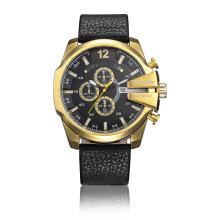 6839gold Case Ipg plateó el reloj deportivo grande del dial 3eyes Pushers, reloj deportivo de cuarzo multifuncional para los hombres
