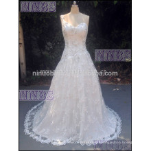 A Line One Shoulder V Neck Robe de mariée en perles Soft Lace Long Tail Weddng Gown 2015 Hot Sale