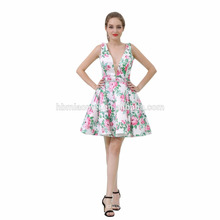 Sexy Cute Flower Printed Deep V Neck Short Evening Dress In Turkey For Lady