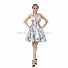Sexy bonito flor impresso V profundo pescoço curto vestido de noite na Turquia para a senhora